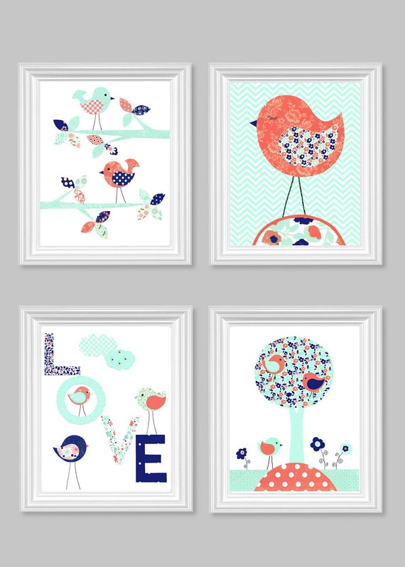 Etsy Girl Nursery Wall Decor : Bird nursery art baby girl room decor wall