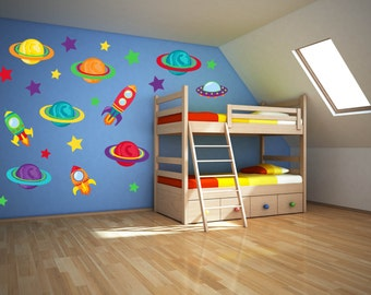 Space Wall Art - Outer Space Nursery - Space Wall Decal - Outer Space Decor - Space Birthday Party