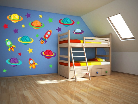 Space wall art outer space nursery space wall decal for Wall decor outer space