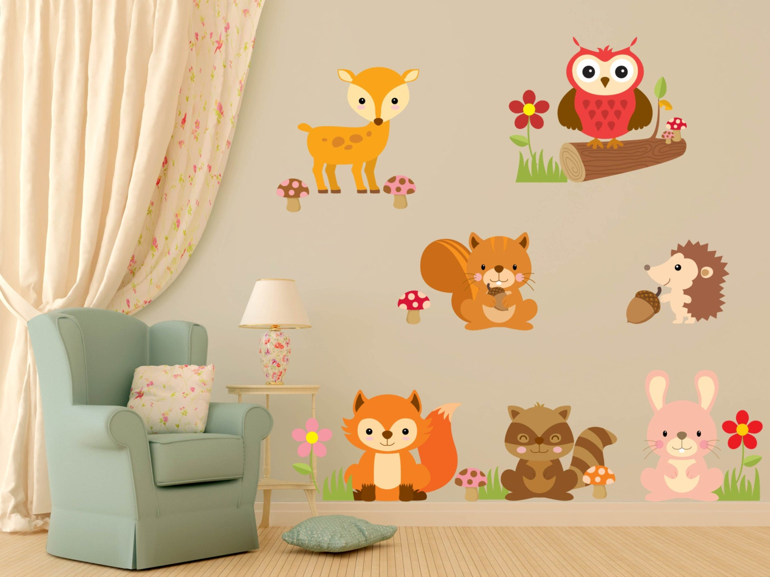 animal wall decals nursery wall decals baby girl nursery. Black Bedroom Furniture Sets. Home Design Ideas