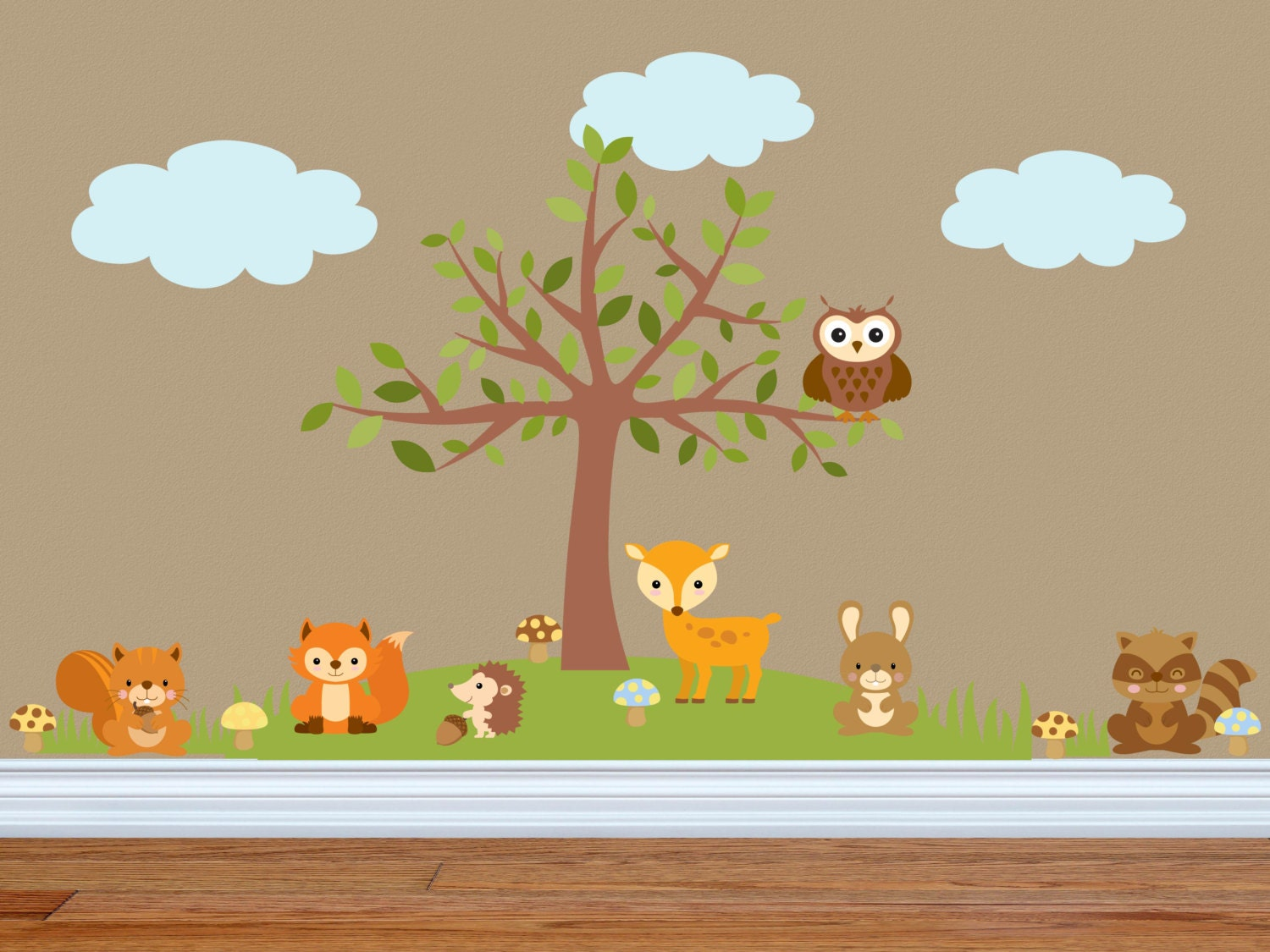 animal wall decals nursery wall decals animal theme. Black Bedroom Furniture Sets. Home Design Ideas