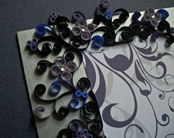 Quilled & Framed Wedding Invitation / Custom Quilled Wedding Gift / Quilled Art / Couple's Gift / Bridal Shower Gift - PURPLE SWIRL