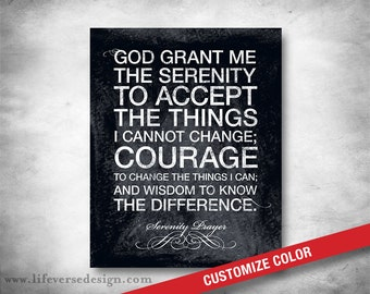 Serenity Prayer - Subway Art - Inspirational Quote - Modern Typography - Motivational Words - AA Saying - Prayer - Spiritual - CUSTOM COLOR