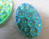 3 oval Acrylic  Cabochons  Flat-back  light blue 25x18