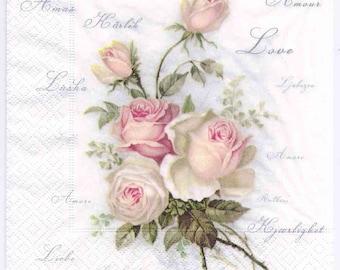 4 Decoupage Napkins | Vintage Roses of Amour | Rose Napkins | Floral Napkins | Design Dinner Napkins | Paper Napkins for Decoupage