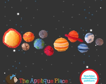 PATTERN The Planets * Set of 11 SoLaR SySTeM * Sofites * In The Hoop Machine Embroidery Digital Design Files - EMBRoiDeRy MaCHiNe PaTTeRN