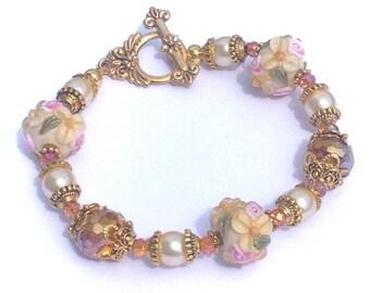 Flower Lamp work Bracelet, lampwork jewelry
