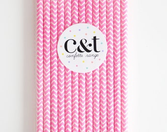 Candy Pink Chevron Decorative Fun Paper Straws (Set of 25)