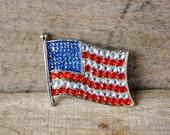 Vintage Rhinestone American Flag Brooch
