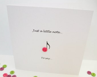 Just a Little Note - Blank Note Card - Paper Handmade Greeting Card - Button - Thank You Card