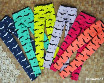Kawkana - Neon MUSTACHE leggigns, colorfull pants for Msd, MNF, JID, Leeke Art, other 1/4 bjd