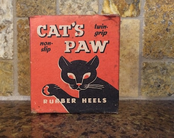 1950s Cat's Paw Rubber Heels Box - Vintage Advertising Art
