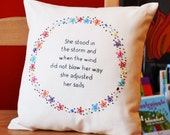 Decorative quote cushion/pillow. Hand Embroidery Inspirational Quote Flower Ring Cushion 'She stood in the storm'