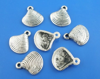 5 Antiqued Silver Shell Charms