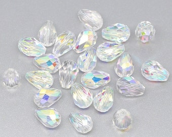 Clear Faceted 5000 Crystal AB Teardrops - 11x8MM