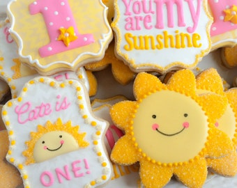 One dozen (12) You Are My SUNSHINE Sugar Cookies