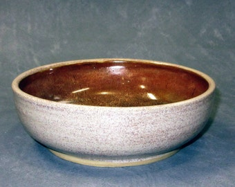 Speckled Oatmeal and Red Gold Ceramic Stoneware Bowl