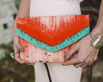 Envelope Clutch Handbag - Crossbody Bag - Envelope Clutch - Foldover Purse - Painted Handbag - Fold Over Purse - Everyday Bag For Women