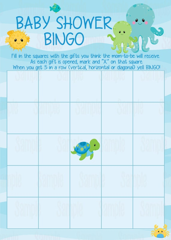 Instant Download Printable Under The Sea Baby Shower Bingo Cards: https://www.etsy.com/listing/211062568/instant-download-printable...