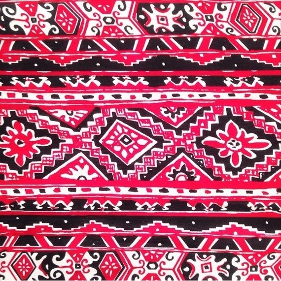fabric red white and black tribal print by ...