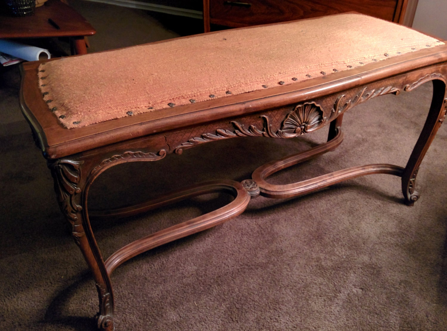 Beautiful antique hand carved upholstered wooden bench for Beautiful wooden benches
