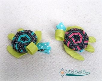 Sea Turtle Ribbon Sculpture Hair Clip, Woven shell, ocean-theme hair bow