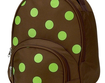 Toddler Backpack - Lime Polka Dot - Four Peas Personalized