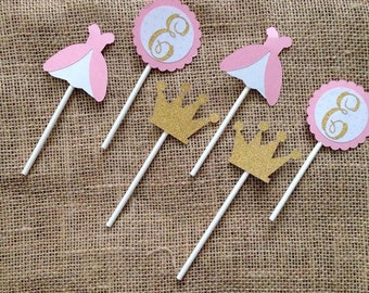 Princess Cupcake Toppers, Pink cupcake toppers, Gold Cupcake toppers, Crown cupcake toppers