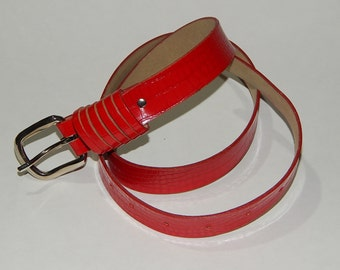 "Red Faux Snakeskin Belt Silver Metal Buckle 28"" to 34"" Waist"