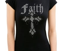 FAITH GOTHIC CROSS Rhinestone/stud Womens T-Shirts Round Neck