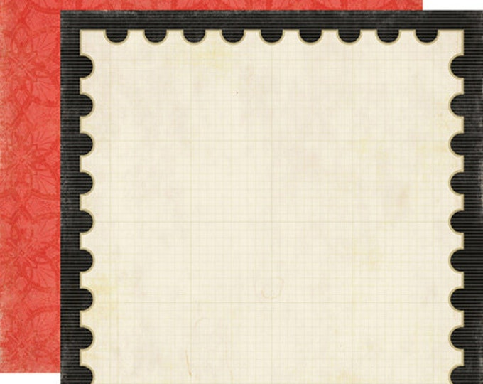 2 Sheets of Echo Park Paper FOR THE RECORD 12x12 Scrapbook Paper - Stamp of Approval