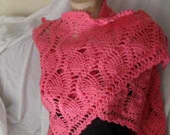 Pink pure wool wrap/shawl
