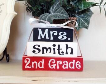3- Block Stack- Teacher Custom Name And Grade Painted Wooden Blocks-Country Decor-Shabby-Teacher Gift