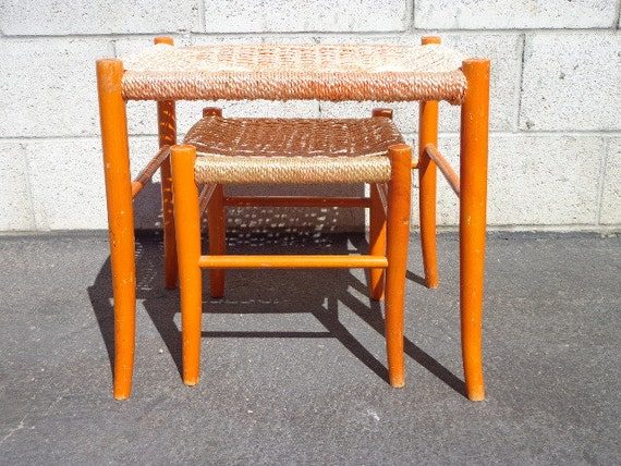 Set Of 2 Mcm Woven Nesting Tables Stools Mid By Dejavudecors