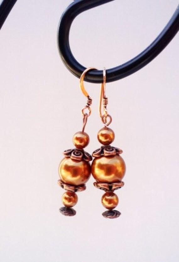 Pearl Earrings, Copper Earrings, Dangle Earrings, Long Copper Earrings