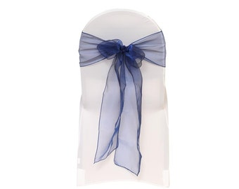 Navy Blue Organza Chair Sashes (Pack of 10) | Wedding Chair Sashes