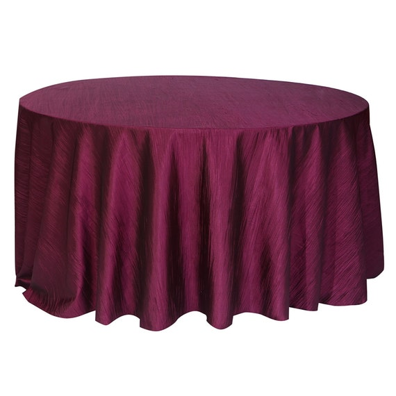 120 inch eggplant crinkle taffeta round tablecloth wedding for 120 inch round table cloths