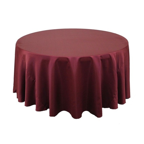 120 inch round lamour tablecloth burgundy by yourchaircovers for 120 inch round table cloths