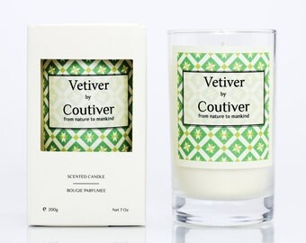 "Scented Candles ""Vetiver"" handmade with Eco-soy wax non-GMO. Citrus classic cologne  woody notes."