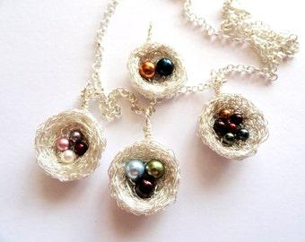 swarovski pearl birthstone birds nest necklace,sterling silver birds nest birthstone necklace ,swarovski pearl birthstone bird nest pendant