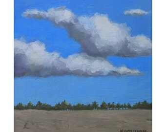 Oil Painting ''Sky'' Landscape Painting Fine art, Oil on Canvas Panel, Home Decor 15x15cm