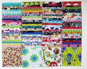 """100 Assorted  pre cut charm pack 5"""" squares 100% cotton fabric quilt"""