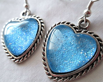 Bright Sky Blue Heart Earrings; Hand Painted Glass Dangle Earrings; Nail Polish Earrings; Light Blue Dangle Heart Earrings; Heart Jewelry