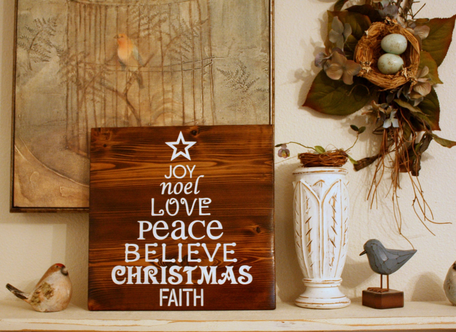 Christmas Word Tree Rustic Wood Holiday Sign 11X11
