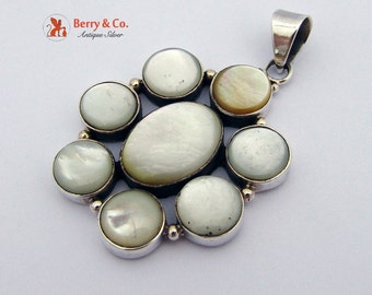 Flower Form Large Pendant Mother Of Pearl Sterling Silver