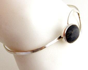 Lapis Bangle Bracelet Handmade Sterling Silver 1970