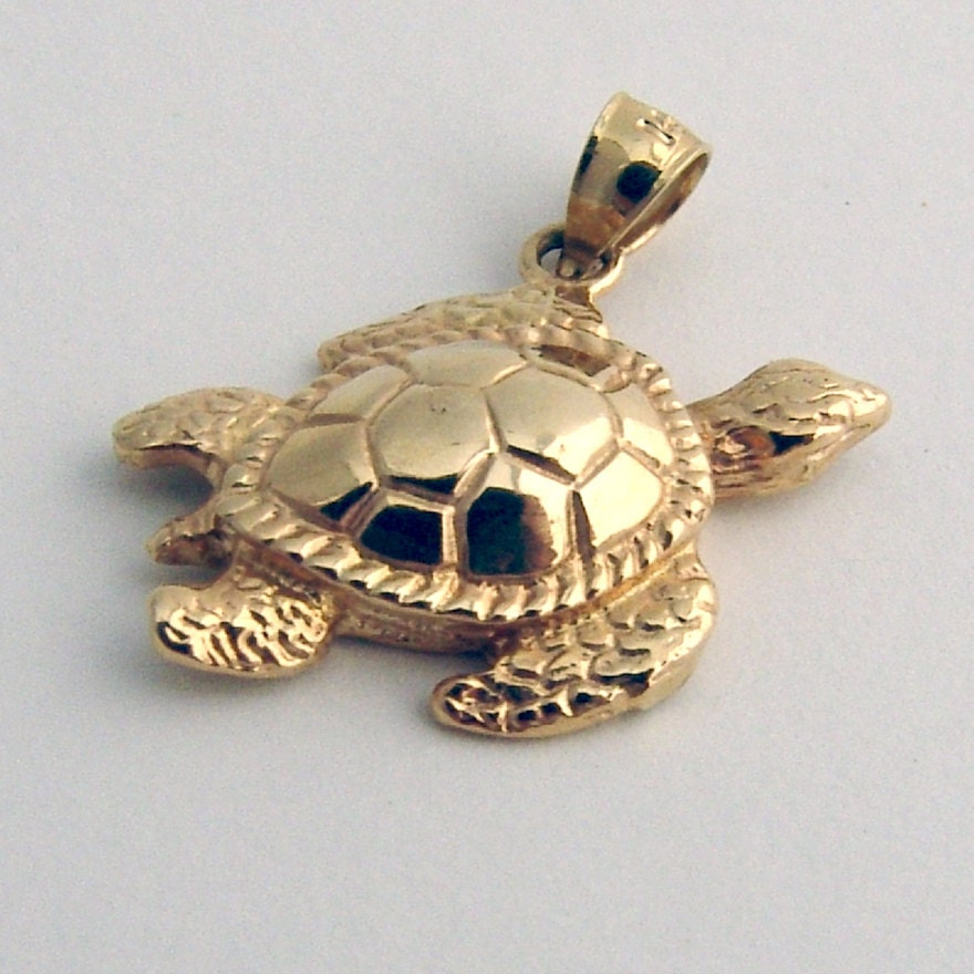 turtle pendant 14k gold by berrysgems on etsy
