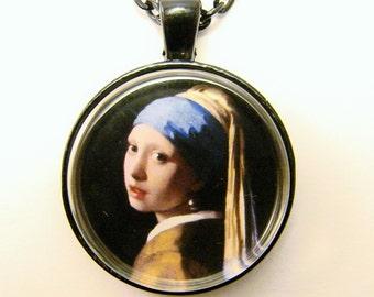 VERMEER Girl with a PEARL EARRING Necklace -- Detail from Vermeer's Meisje me de parel, 17th Century painting, Friendship token