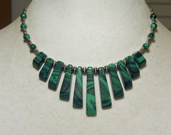 "Cynthia Lynn ""EVERGREEN"" Silver Plated Created Malachite Choker Bib Necklace"