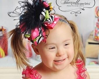OTT Birthday Boutique Bow/Hair Bow/Boutique Bow Hair Bow/Boutique Bow Hair Accessory/Layered Hair/Infant Headband/Baby Headband/Cake Smash